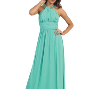 Misses Long SeaFoam Green Jeweled Collar Sexy NWT